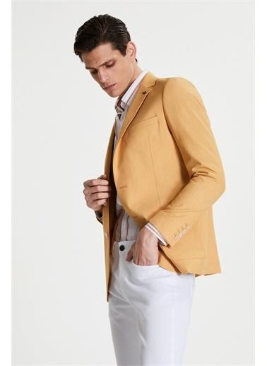 Tween Slim Fit Desenli Kumaş Ceket Sarı